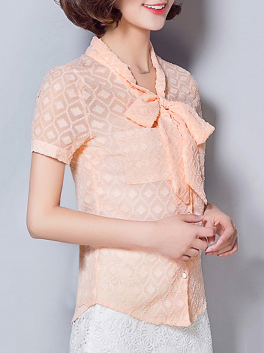 Tie Collar  Bowknot  Embossed Hollow Out Plain Blouse