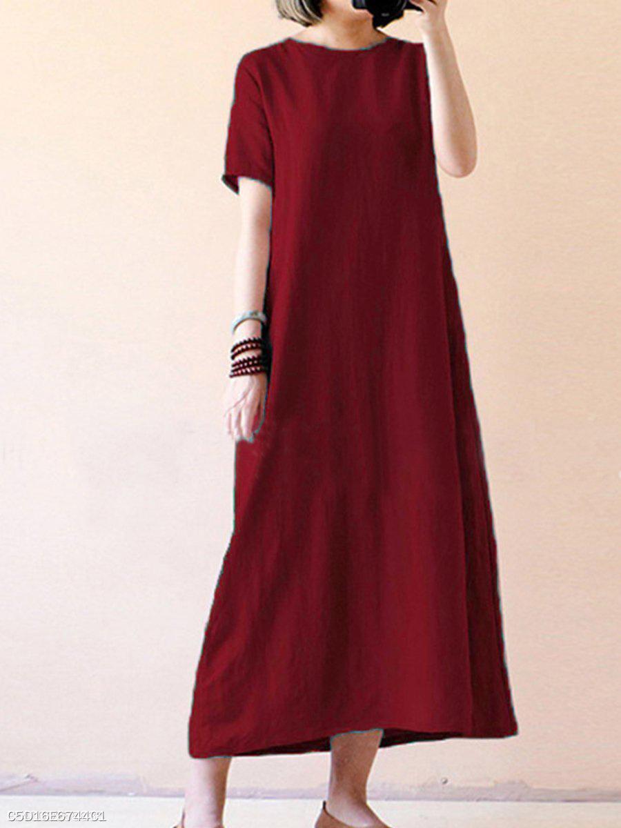 95fca621978 Plain Round Neck Oversized Maxi Dress - fashionMia.com