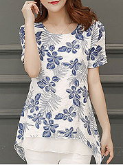 Spring Summer  Polyester  Women  Round Neck  Asymmetric Hem  Fake Two-Piece  Floral Printed  Short Sleeve Blouses