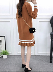 Round Neck  Ruffled Hem  Color Block Shift Dress
