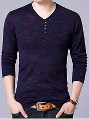 V-Neck  Decorative Button Men Sweater