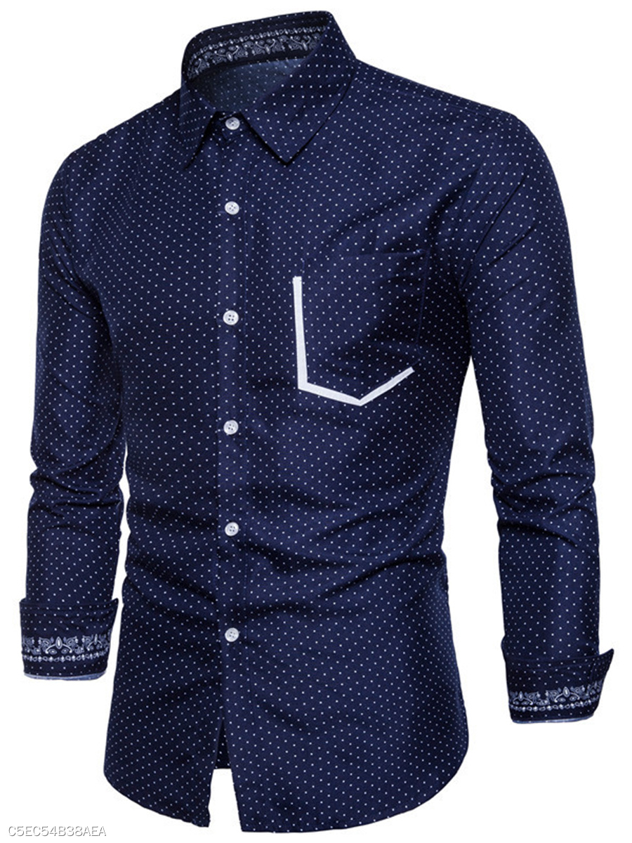 Turn Down Collar  Patch Pocket  Polka Dot  Cuffed Sleeve  Long Sleeve Long Sleeves