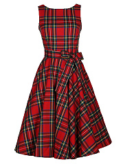 Round Neck Plaid Bowknot Midi Skater Dress