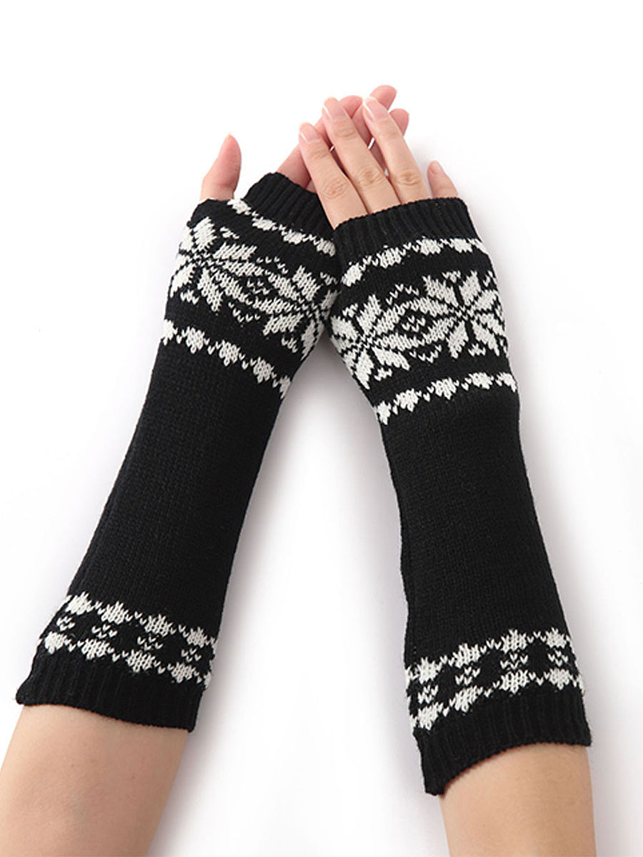 Knit Arm Warmer Fingerless Snowflake Long Gloves