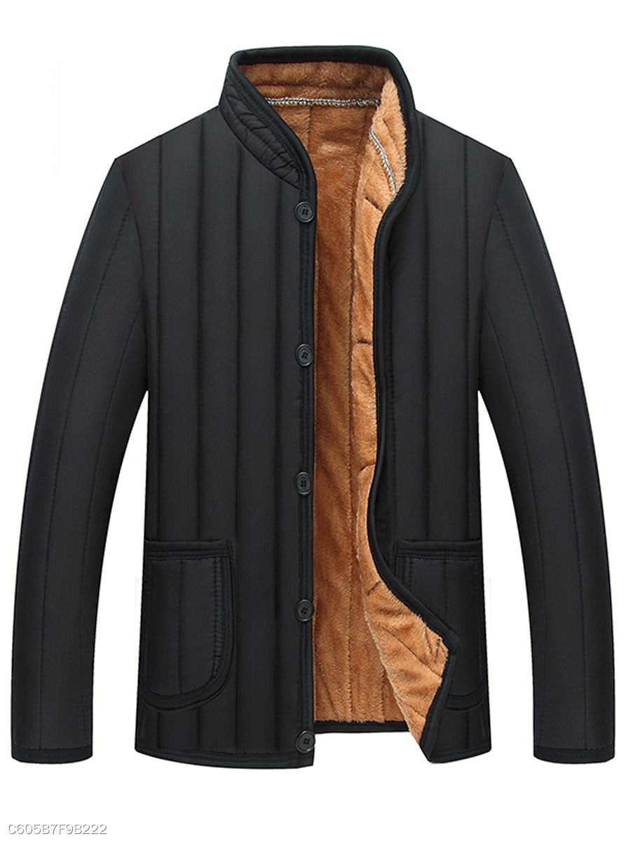 Band Collar Fleece Lined Patch Pocket Men Coat