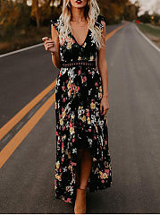 V-Neck  Backless Decorative Lace  Printed Maxi Dress