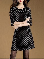 Elegant Office Round Neck Striped Skater Dress