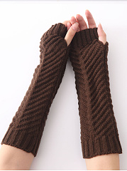 Cotton Thick Knit Fingerless Gloves
