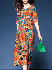 Round Neck Abstract Print Empire Maxi Dress