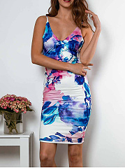 V-Neck  Abstract Print Bodycon Dress