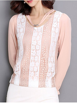 Summer  Chiffon  Women  Round Neck  Decorative Lace Patchwork  Floral  Long Sleeve Blouses