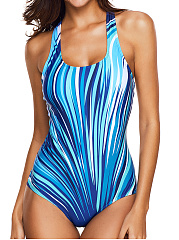 Scoop Neck  Printed One Piece Swimwear
