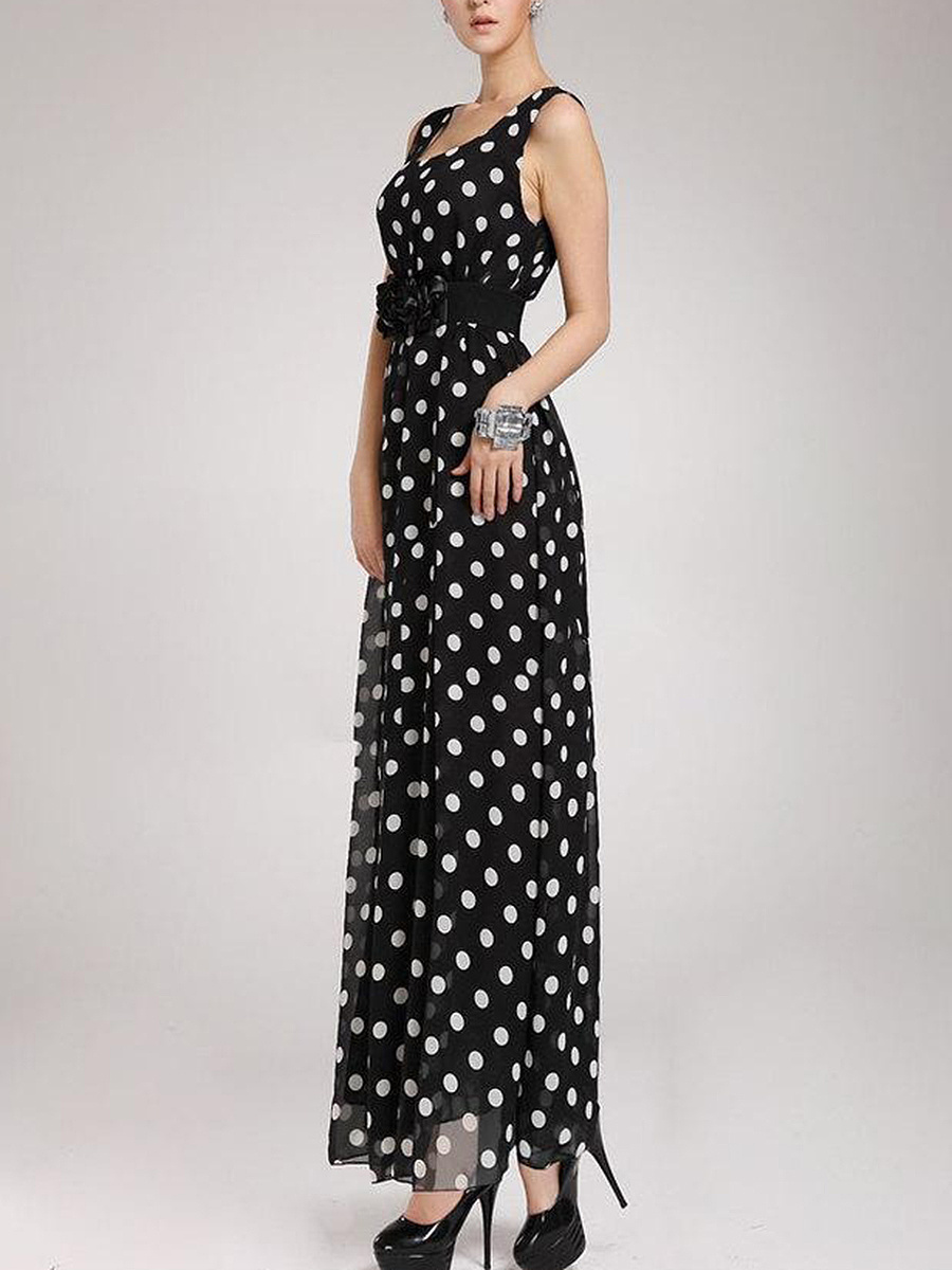Round Neck Polka Dot Chiffon Maxi Dress