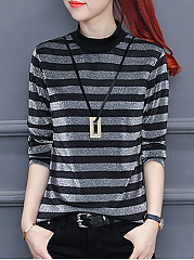 Crew Neck  Stripes Long Sleeve T-Shirts