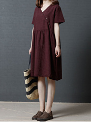 V-Neck  Diagonal Buttons  Plain Shift Dress