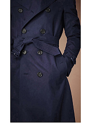 Lapel Double Breasted Belt Plain Men Longline Coat