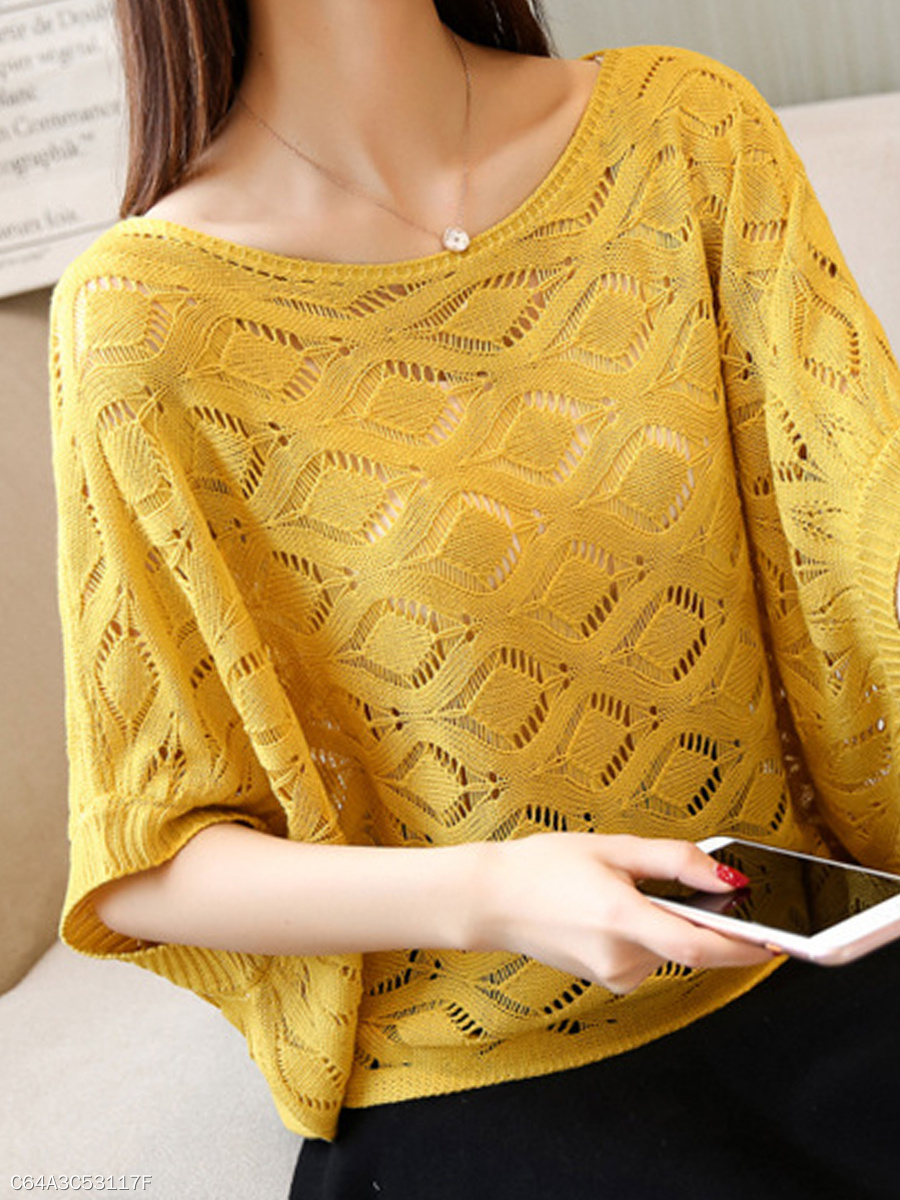 Round Neck  Geometric Hollow Out  Batwing Sleeve  Half Sleeve Sweaters Pullover