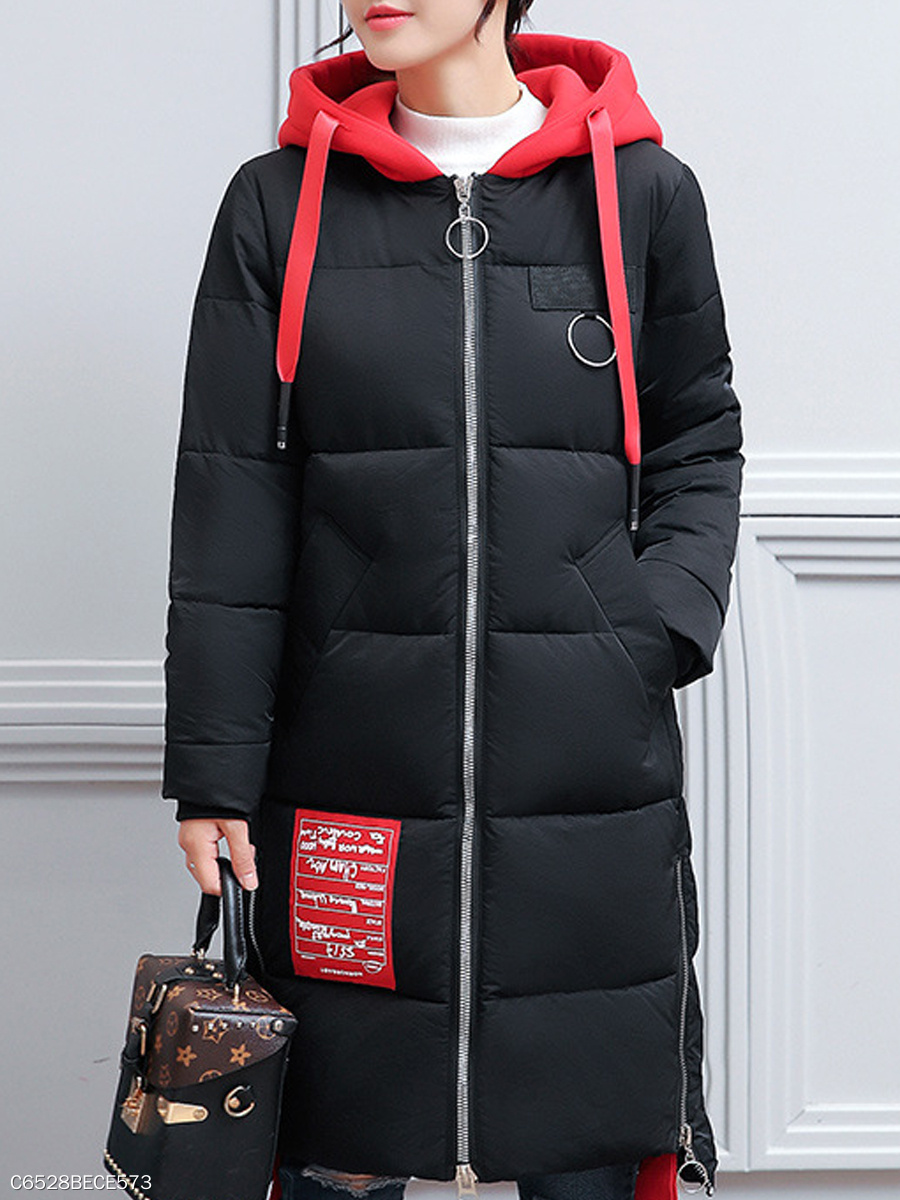 Hooded  Drawstring Slit Pocket Zips  Decorative Hardware  Color Block  Long Sleeve Coats