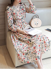 V-Neck  Printed Fashion Puff Sleeve Maxi Dress