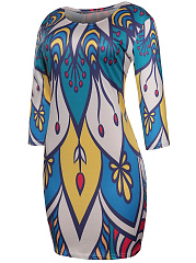 Round Neck Color Block Printed Remarkable Bodycon Dress