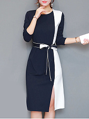 Round Neck  Side Slit  Color Block Bodycon Dress