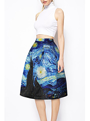 Summer  Abstract  Print  Casual  Skirts