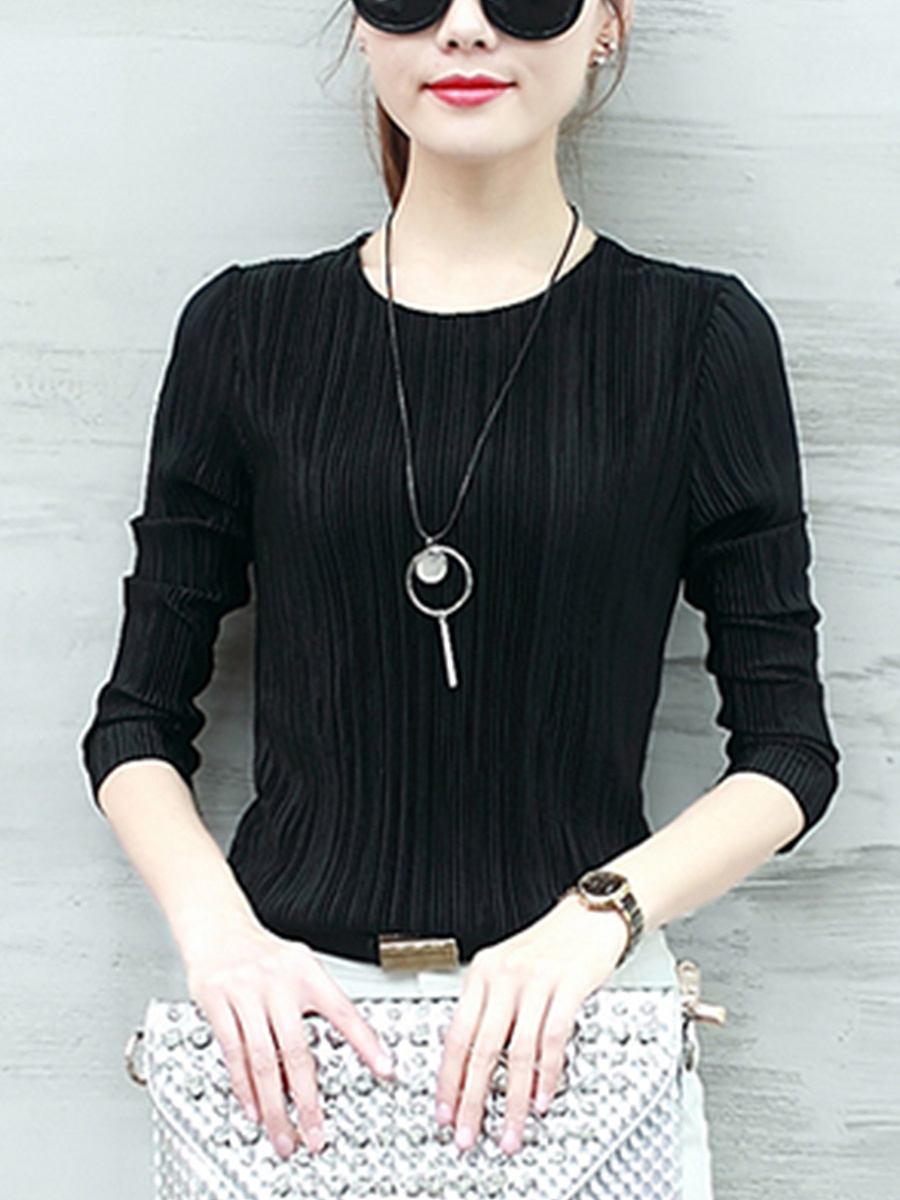 Basic Plain Pleated Round Neck Long Sleeve T-Shirt
