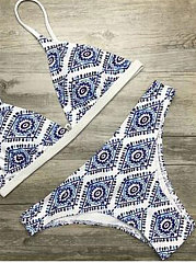 White Floral Halter Thong Biquini Bikini For Women
