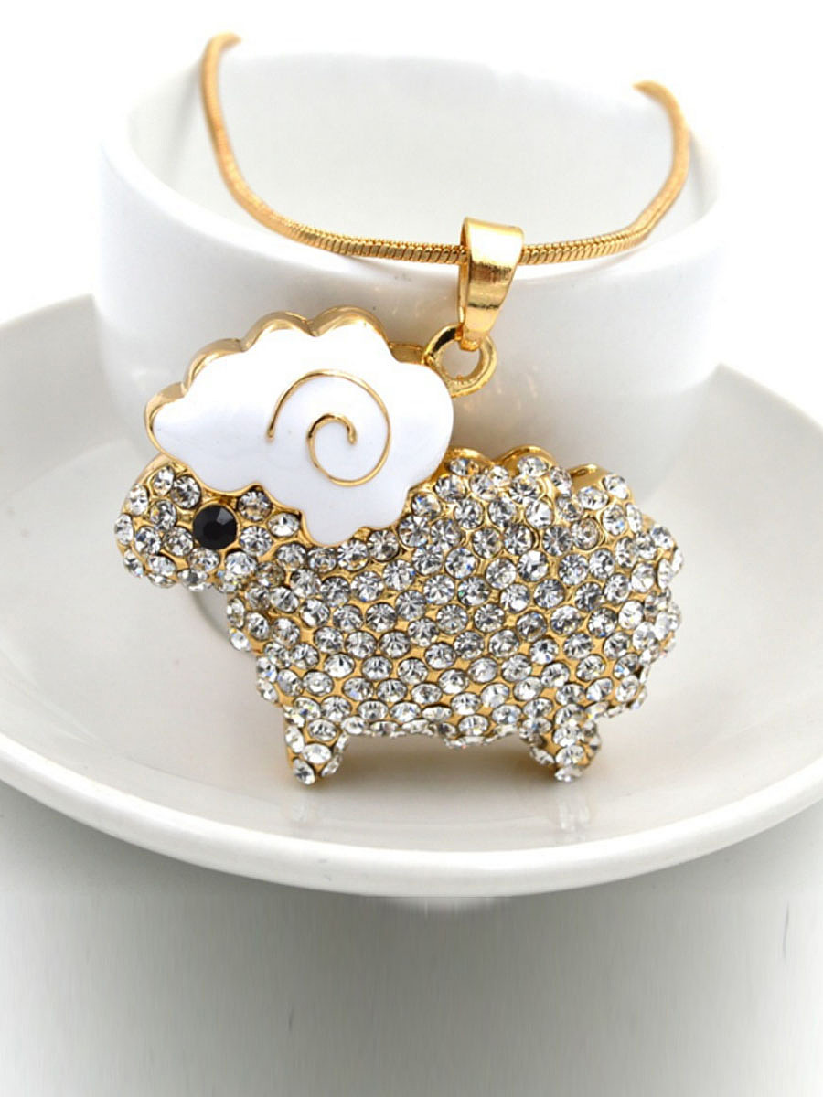 Rhinestone Sheep Pendant Long Necklace
