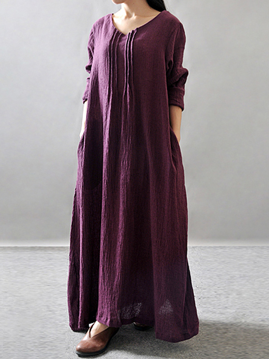 V-Neck Oversized Pocket Plain Maxi Dress