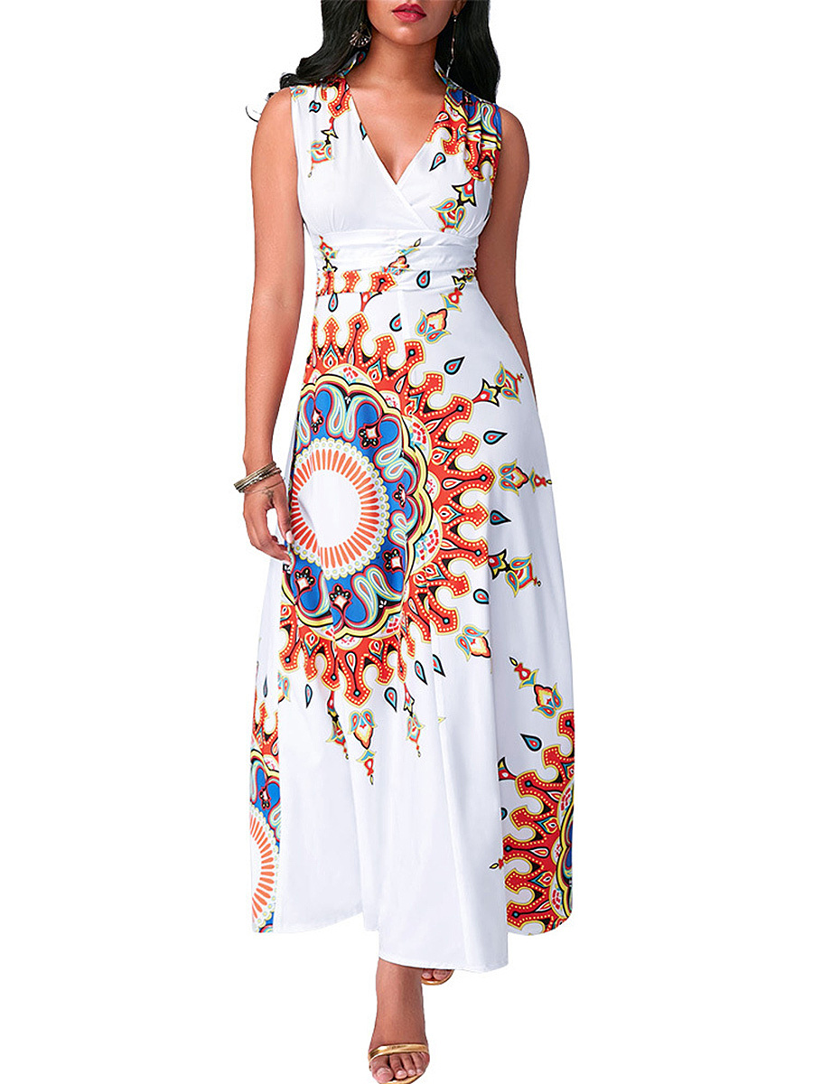 Deep V-Neck Tribal Printed Empire Maxi Dress