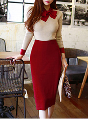 Vintage High Stretch Color Block Tie Collar T-Shirt And Skirt