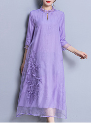 Band Collar  Embossed Design  Embossed Maxi Dress