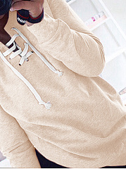 Lace-Up  Plain  Long Sleeve Sweatshirts