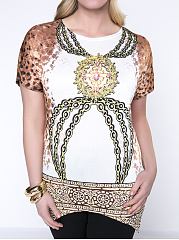 Stylish Printed Round Neck  Asymmetric Hem  Plus Size T-Shirt