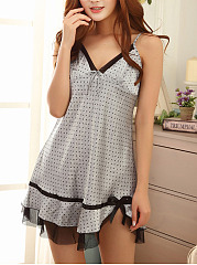 Spaghetti-Strap-Polka-Dot-Mesh-Satin-Nightgown