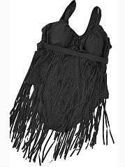 Spaghetti Strap Fringe Plain Plus Size One Piece