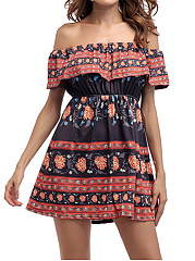 Off Shoulder Flounce Tribal Printed Skater Dress