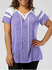 V-Neck  Lace-Up  Striped  Short Sleeve Plus Size T-Shirts