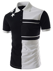 Polo Collar  Color Block Star  Short Sleeve Polos