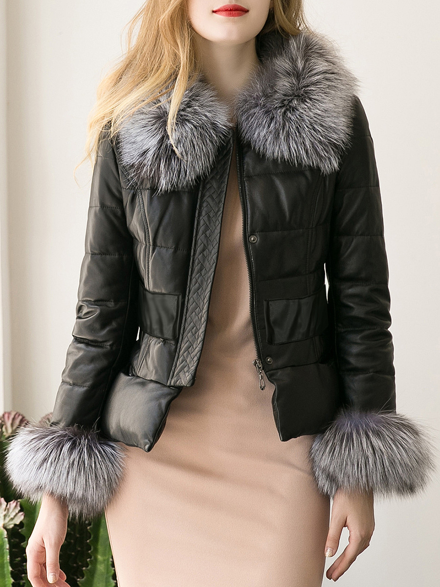 Faux Fur Collar Quilted Faux Leather Padded Coat
