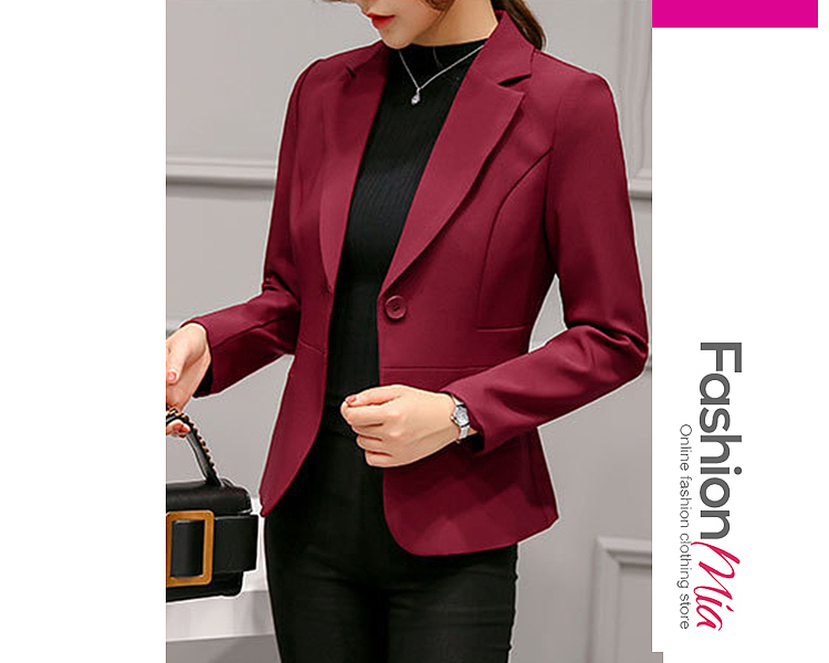 material:polyester, collar&neckline:notch lapel, sleeve:long sleeve, more_details:single button, pattern_type:plain, occasion:office, season:autumn, package_included:top*1, length:59,shoulder:37,bust:86,waist:74,