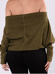 Open Shoulder  Plain  Long Sleeve Sweaters Pullover