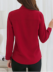 Single Breasted  Plain Turn Down Collar  Blouse
