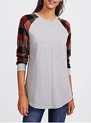 Round Neck  Patchwork  Plaid Long Sleeve T-Shirts