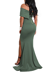 One Shoulder High Slit Plain Evening Dress