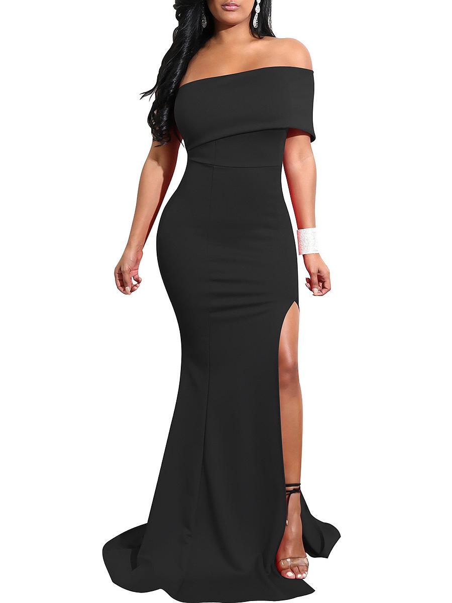 One Shoulder High Slit Plain Evening Dress - fashionMia.com