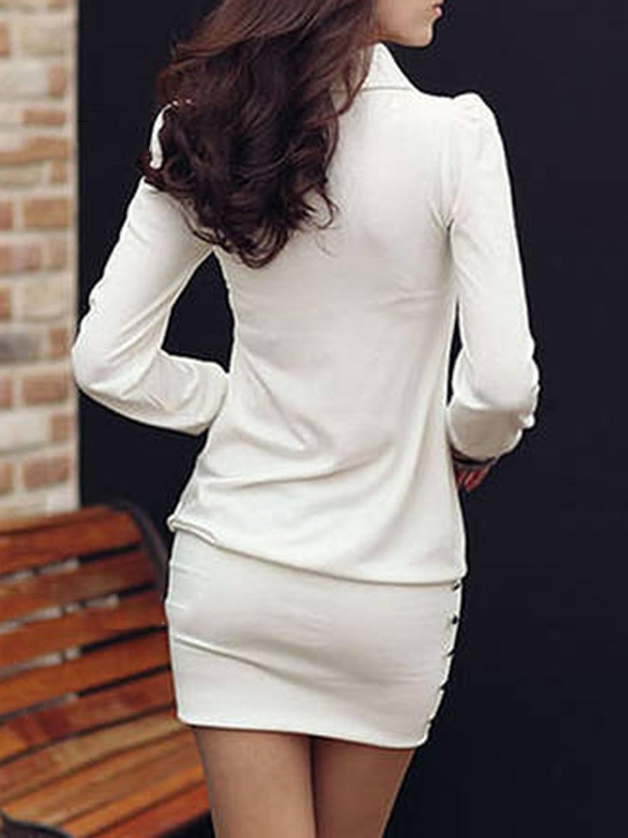 Sexy V-Neck Plain Mini Bodycon Dress