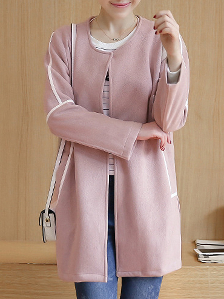 Collarless Pocket Contrast Piping Woolen Coat