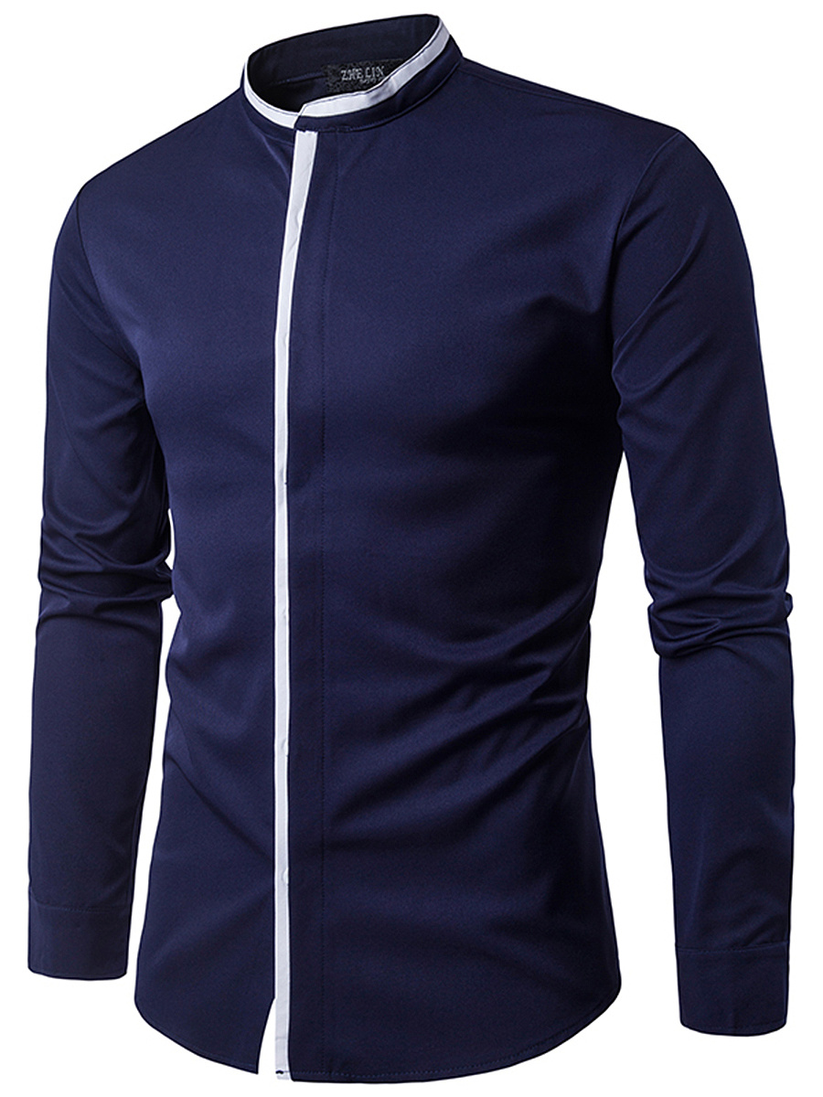 Band Collar  Contrast Trim Men Shirts